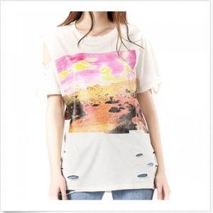 Diesel Women's T-Shirt L T-CYNTH Distressed Loose